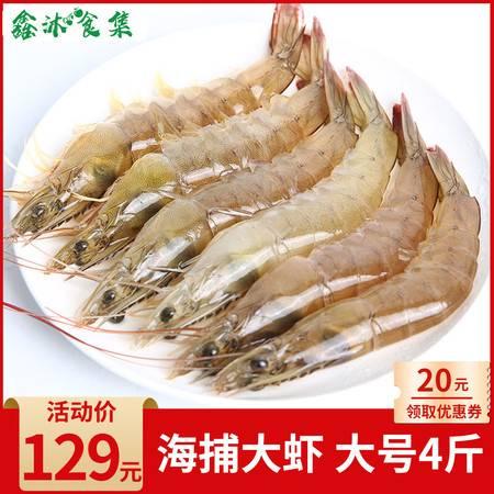 【领券立减30元】海鲜 青岛海捕大虾 鲜活速冻 单只长约12cm  1盒4斤净重约3.5斤