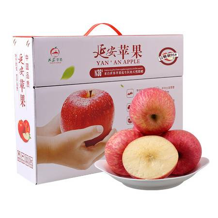 耕基 陕西新鲜水果 延安红富士苹果12枚95mm约5kg大果礼盒装