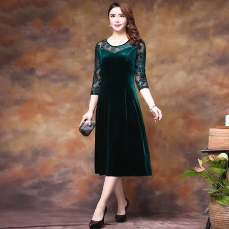 启言 妈妈秋装连衣裙气质过膝50岁中年女阔太太金丝绒时尚洋气裙子高贵