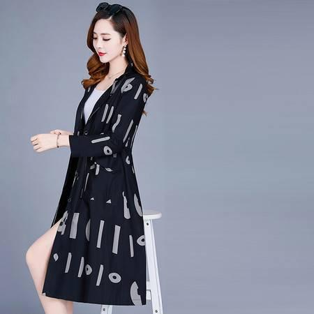 启言 薄款女风衣2019春秋新款流行韩版宽松显瘦七分袖印花外套