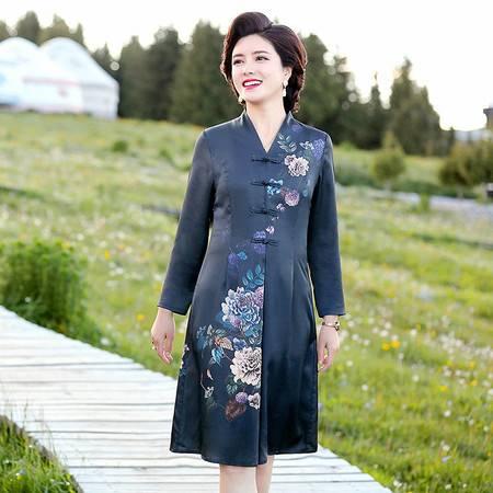 启言 中国风妈妈春秋装长袖新式旗袍裙子中年女装中老年2019新款连衣裙