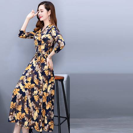 启言 长裙子女2019新款韩版流行七分袖v领中长款过膝印花连衣裙