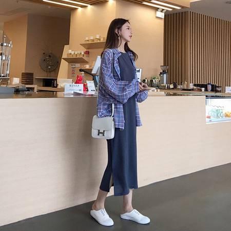 启言 2019初秋新款胖mm洋气减龄连衣裙遮肚网红套装显瘦大码女装两件套