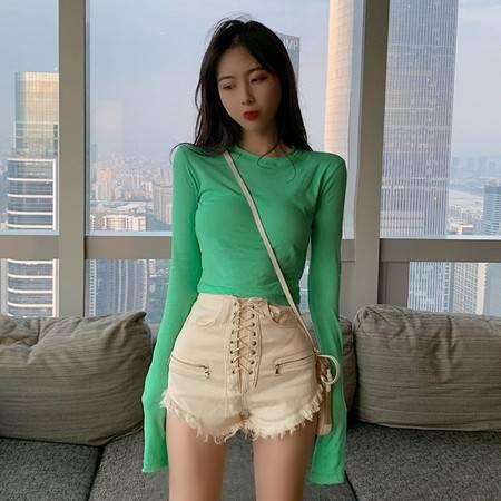 启言 2019秋季新款韩版打底百搭体恤修身显瘦长袖T恤短款露脐上衣女