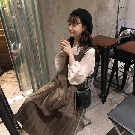 启言 2019秋季新款智熏法式桔梗小香风初秋韩版长袖背带连衣裙两件套装