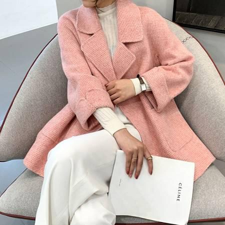 双面羊绒大衣女2019冬新款短款修身加厚骆马绒格子小个子毛呢外套