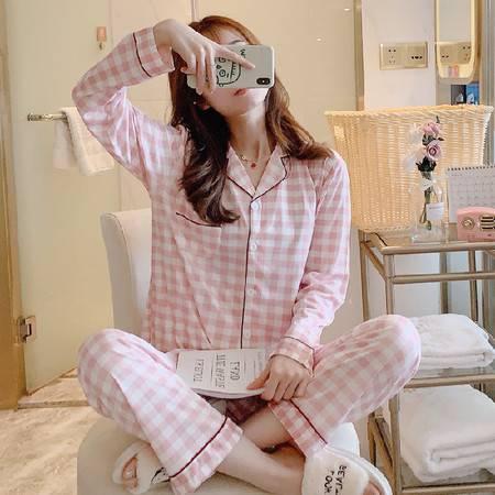 新款格子睡衣女长袖牛奶丝春秋季休闲薄款开衫秋冬天家居服两件套装