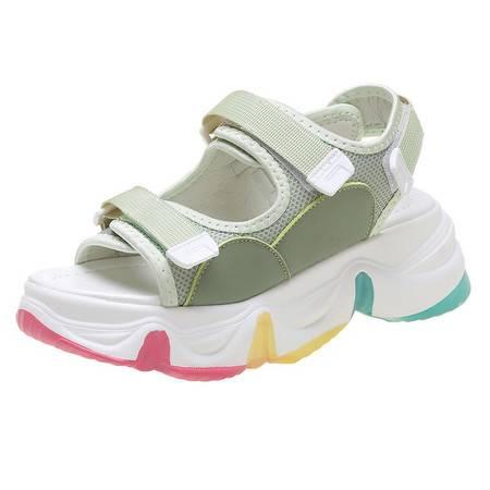 厚底凉鞋女2020夏季彩虹鞋增高松糕鞋仙女风魔术贴运动凉鞋潮鞋