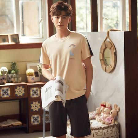 睡衣男士夏季短袖短裤薄款青年家居服韩版休闲套装夏天可外穿