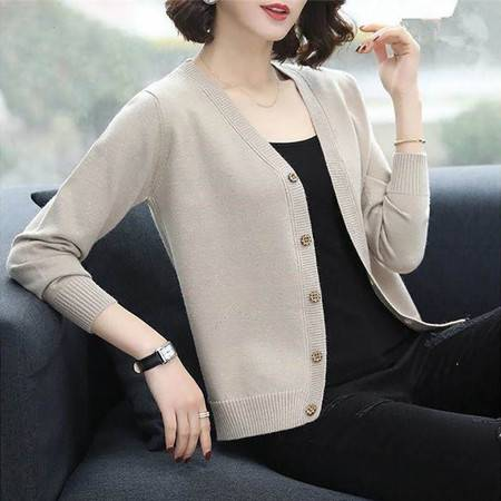 2020春女装新款韩版上衣宽松V领开衫毛衣短款百搭针织衫外套褂子