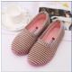 冬季棉拖鞋女棉鞋包跟可爱条纹室内棉拖鞋防滑保暖毛绒低帮月子鞋