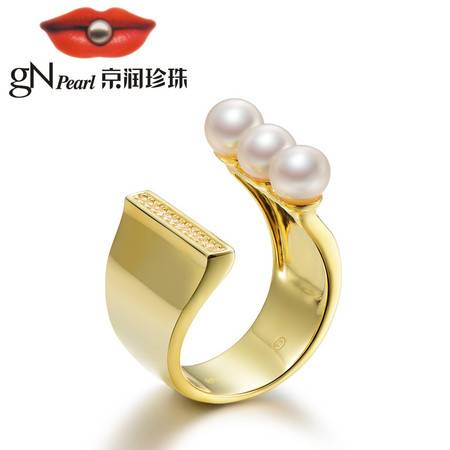 京润珍珠/gNPearl 月夕 S925银镶淡水珍珠戒指 馒头形 白色 5-6mm 开口戒 女
