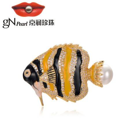 京润珍珠/gNPearl 子非鱼 合金镶淡水珍珠胸针  白色 时尚