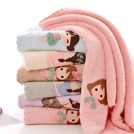 韩版少女心珊瑚绒毛巾吸水可爱毛巾超细纤维洗脸卡通美女毛巾速干