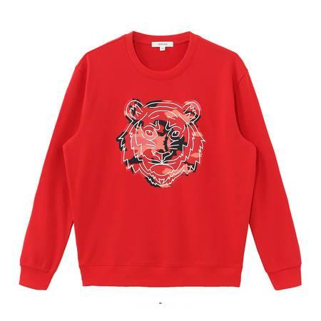 马克华菲 卫衣潮男冬季新款学院风印花红色连帽上衣 719406042035364