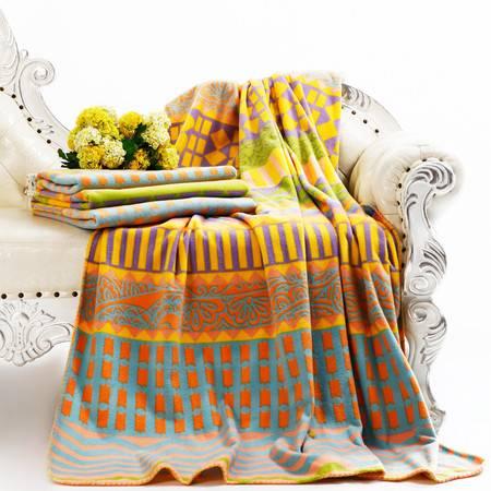 梦洁家纺 法兰绒毯:彩格 150*200
