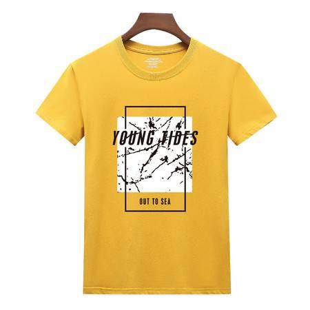 2020年夏季新款男士多色休闲纯棉T恤百搭短袖方框图案上衣