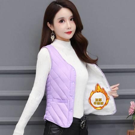 女士加绒马甲浅紫XL