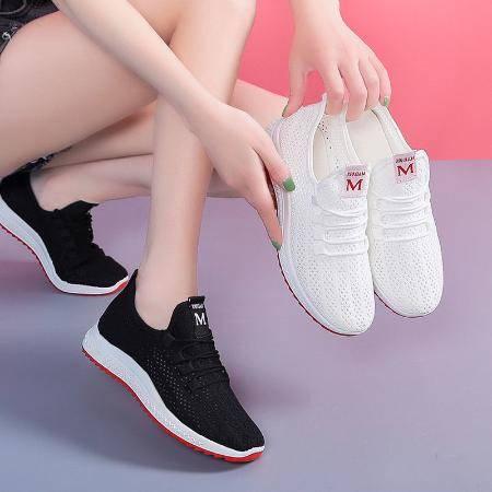 透气运动鞋白色网鞋夏季网面休闲镂空跑步女鞋