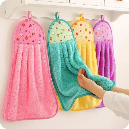 厨房擦手巾挂式超强吸水性好珊瑚绒卫生间加厚擦手布抹布洗碗布ZZX