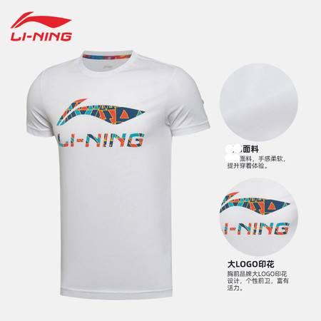 李宁/LI NING 运动服男子短袖T恤羽毛球系列半袖大logo棉质舒适夏AHSQ747