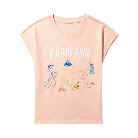 李宁/LI NING 女小童时尚生活系列舒适凉爽短袖文化衫2021年夏YHSQ076