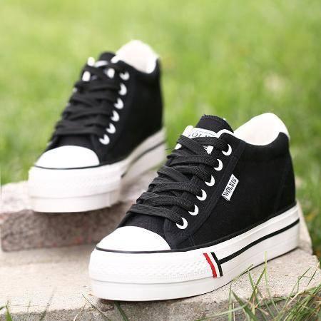内增高帆布鞋女2020新款布鞋韩版松糕厚底街拍板鞋系带女鞋学生春