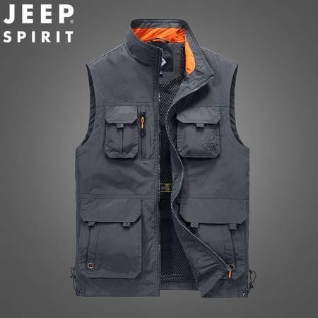 JEEP/吉普户外多口袋马甲摄影背心男士坎肩薄款马夹工装外套JC3011