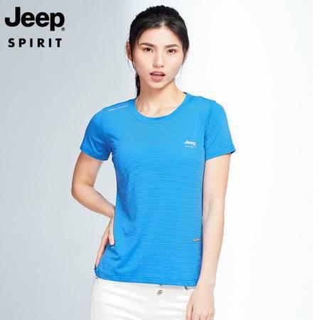 JEEP SPIRIT 夏季情侣款排汗训练健身速干T恤休闲潮流运动T恤