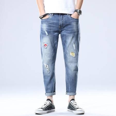 verhouse 夏季新款潮流个性破洞补丁牛仔裤时尚宽松大码男装九分裤